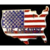 AMERICA THE GREATEST COUNTRY SHAPE FLAG COLORS PIN