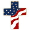 AMERICAN PATRIOTIC PIN CHRISTIAN CROSS UNITED STATES FLAG LAPEL HAT DISPLAY PIN DX