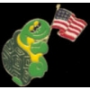 TURTLE PIN HOLDING THE US FLAG PIN