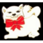 CAT PIN WITH RED BOW ON CUTE WHITE CAT PIN