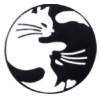 CATS CUDDLING YIN AND YANG POSE LOVE CAT HAT, LAPEL, PIN