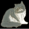 CAT PIN FLUFFY WHITE AND GRAY CAT PIN