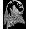 WOLF PIN CAST WOLF HEAD WITH FEATHERS PIN DX