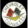 CHEVROLET CORVETTE WHITE ROUND LOGO MINI PIN