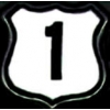 US ROUTE 1 SIGN PIN WHITE