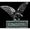 KAWASAKI PIN MOTORCYCLE EAGLE CAST WITH GREEN BAR SCRIPTKAWASAKI PIN