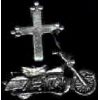 MOTORCYCLE WITH CHRISTIAN CROSS PIN