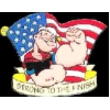 POPEYE PIN STRONG TO THE FINISH USA FLAG PIN