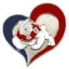 U CALIFORNIA FRESNO STATE PIN SWIRL HEART BULLDOGS PIN