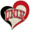 U NEVADA LAS VEGAS UNLV REBELS SWIRL HEART PIN
