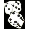 DICE PAIR WHITE PIN