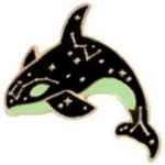 WHALE WITH STARS AND CONSTELLATIONS LAPEL, HAT PIN