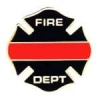 FIRE DEPARTMENT THIN RED LINE MALTESE CROSS PIN
