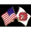 FIRE DEPARTMENT PIN USA MALTESE CROSS COMBO FLAG PIN