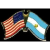 ARGENTINA FLAG AND USA CROSSED FLAG PIN FRIENDSHIP FLAG PINS
