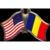 ANDORRA FLAG AND USA CROSSED FLAG PIN FRIENDSHIP FLAG PINS OLD