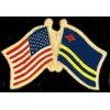 ARUBA FLAG AND USA CROSSED FLAG PIN FRIENDSHIP FLAG PINS