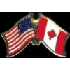 CANADA FLAG AND USA CROSSED FLAG PIN FRIENDSHIP FLAG PINS