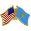 UNITED NATIONS FLAG AND USA CROSSED FLAG PIN FRIENDSHIP FLAG PINS