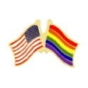 RAINBOW FLAG AND USA CROSSED FRIENDSHIP FLAG PIN