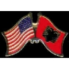 ALBANIA FLAG AND USA CROSSED FLAG PIN FRIENDSHIP FLAG PINS
