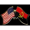 ANGOLA FLAG AND USA CROSSED FLAG PIN FRIENDSHIP FLAG PINS