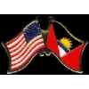 ANTIGUA BARBUDA FLAG AND USA CROSSED FLAG PIN FRIENDSHIP FLAG PINS