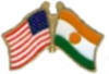 NIGER FLAG AND USA CROSSED FLAG PIN FRIENDSHIP FLAG PINS