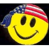 SMILELY FACE USA FLAG COLORS BANDANA PIN