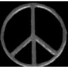 PEACE SIGN SILVER BLACK COLOR CIRCLE PIN