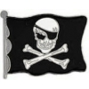PIRATE FLAG PIN SKULL WITH PATCH AND CROSSBONES PIN