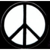 PEACE SIGN WHITE BLACK CIRCLE PIN