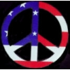 PEACE SIGN PIN RED WHITE AND BLUE USA FLAG PIN