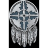 INDIAN SHIELD WITH FEATHERS CAST PIN