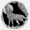 WOLF PIN HOWLING AT THE MOON FEATHER CAST PIN