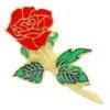 ROSE PIN LONG STEM RED ROSE FLOWER PIN