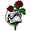 RED ROSE IN SKULL HAT, LAPEL, PIN