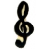 G CLEF NOTE MUSIC PIN BLACK-GOLD TREBLE CLEF MUSIC NOTE PIN