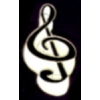 G CLEF NOTE MUSIC PIN BLACK-WHITE TREBLE CLEF MUSIC PIN