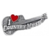 I LOVE COUNTRY MUSIC PIN CAST COUNTRY MUSIC GUITAR PIN