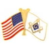 MASON FLAG AND UNITED STATES FLAG PIN
