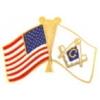 MASON FLAG AND UNITED STATES FLAG PIN