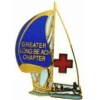 American Red Cross Pin ARC Sailboat  Long Beach, CA Chapter Pin, Lapel, Hatpin