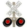 RAILROAD CROSSING PIN CROSSBUCK WITH LIGHTS SIGNAL PIN