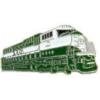 BURLIINGTON NORTHERN RAILROAD PIN GREEN WHITE TRAIN ENGINE PIN