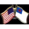 CHRISTIAN FLAG AND USA CROSSED FLAG PIN FRIENDSHIP FLAG PINS DX