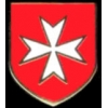 MALTESE CROSS PIN SHIELD RED PIN