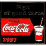 COKE COCA COLA 1957 SLOGAN PIN