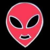ALIEN HEAD RED PIN