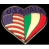 ITALY and USA FLAG HEART PIN